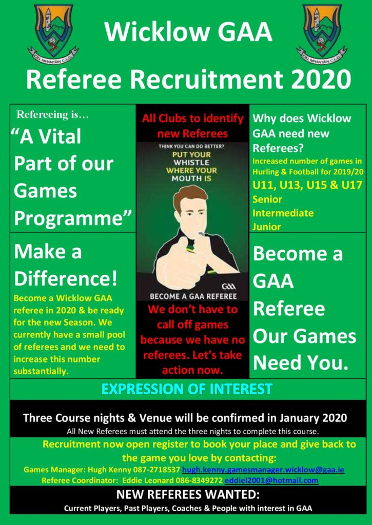 Referee recruitment 2020